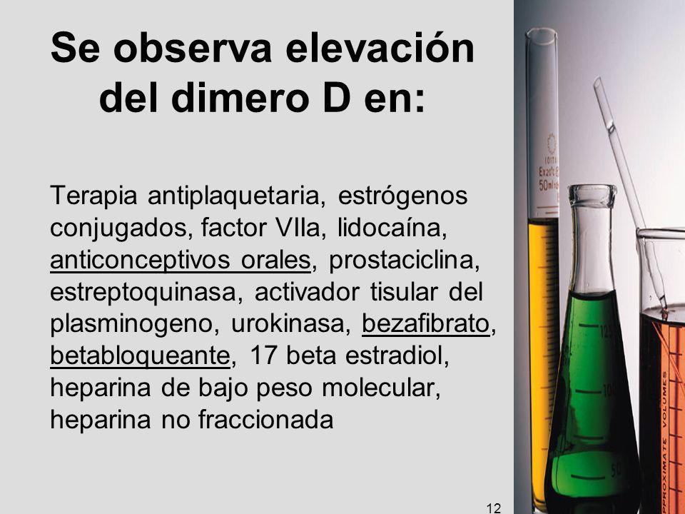 Se observa elevación del dimero D en: Terapia antiplaquetaria, estrógenos conjugados, factor VIIa, lidocaína, anticonceptivos orales, prostaciclina, e