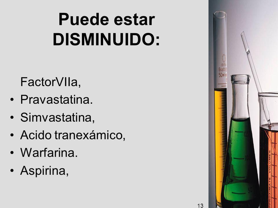 Puede estar DISMINUIDO: FactorVIIa, Pravastatina. Simvastatina, Acido tranexámico, Warfarina. Aspirina, 13