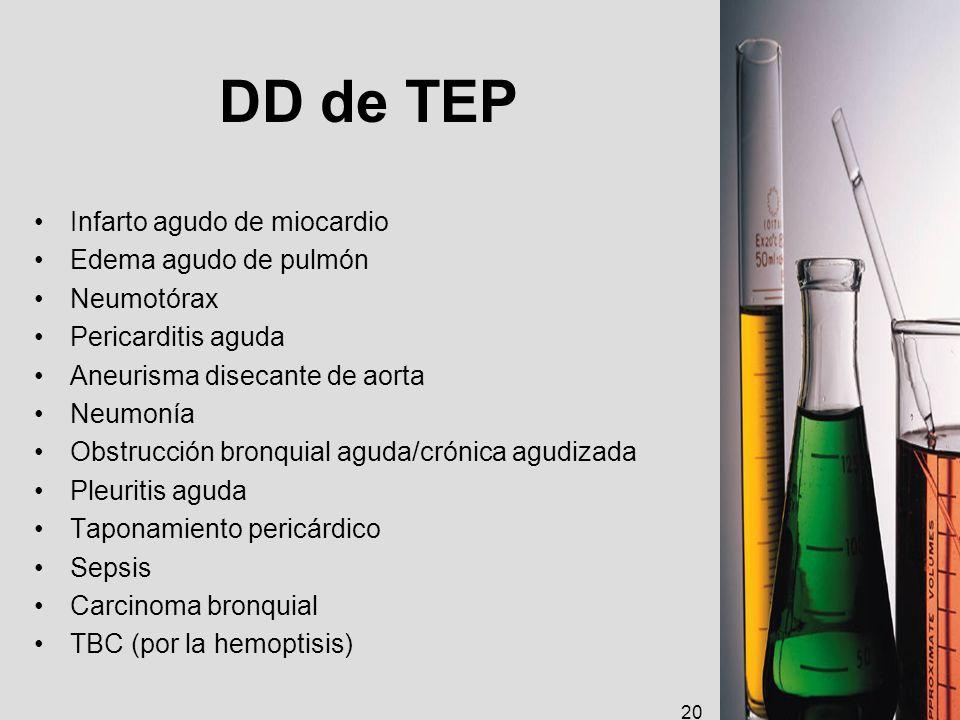 DD de TEP Infarto agudo de miocardio Edema agudo de pulmón Neumotórax Pericarditis aguda Aneurisma disecante de aorta Neumonía Obstrucción bronquial a