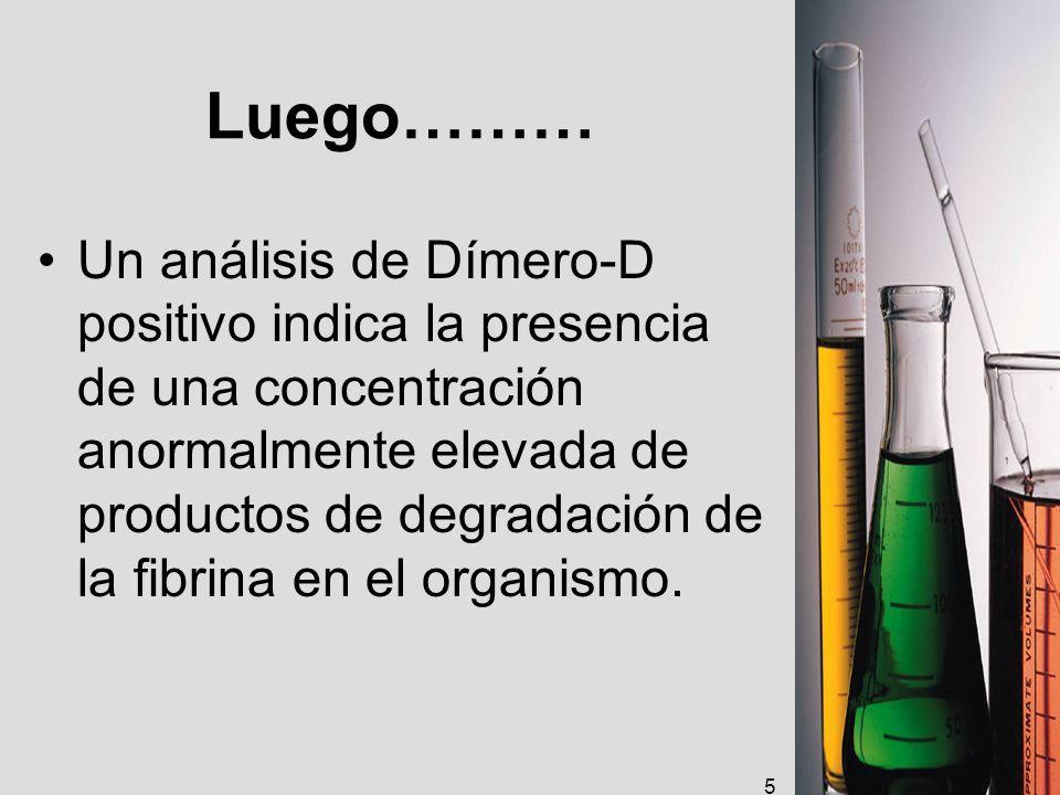 Luego……… Un análisis de Dímero-D positivo indica la presencia de una concentración anormalmente elevada de productos de degradación de la fibrina en e