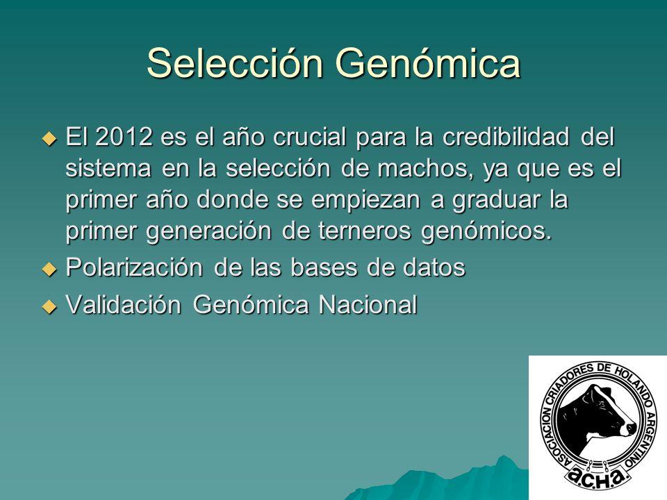 Selección Genómica El 2012 es el año crucial para la credibilidad del sistema en la selección de machos, ya que es el primer año donde se empiezan a g
