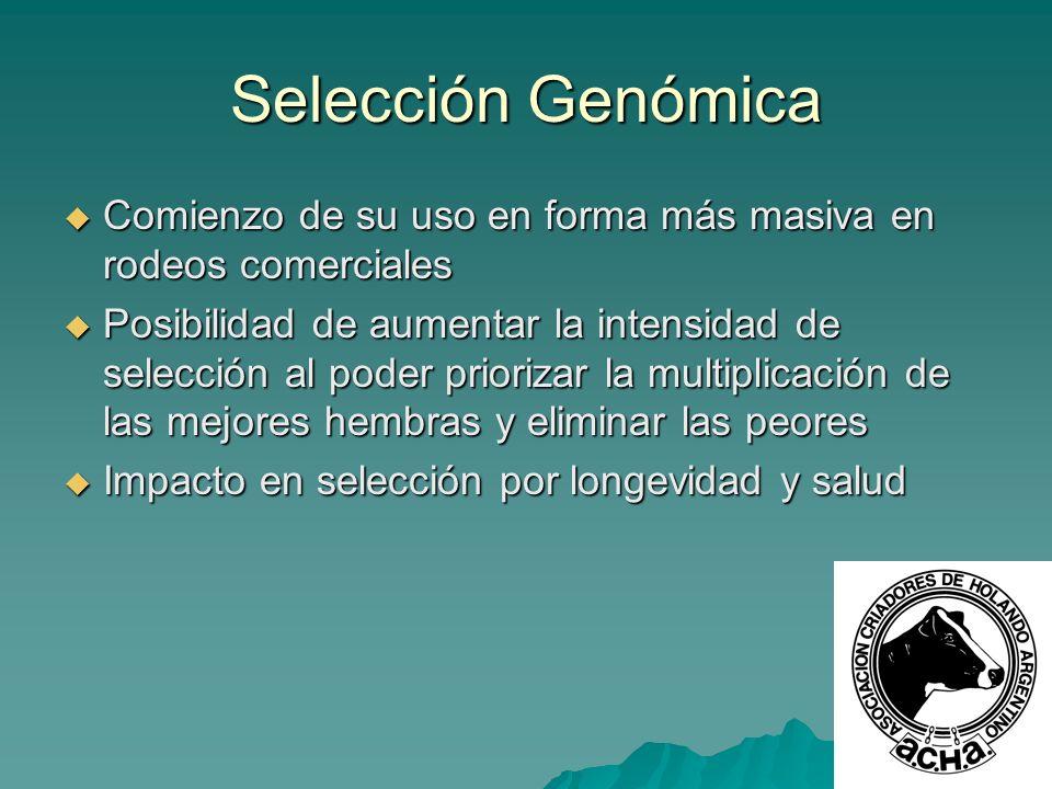 Selección Genómica Comienzo de su uso en forma más masiva en rodeos comerciales Comienzo de su uso en forma más masiva en rodeos comerciales Posibilid