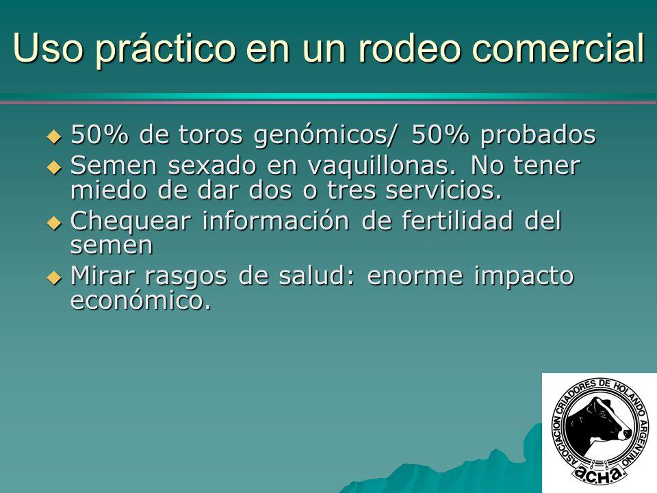 Uso práctico en un rodeo comercial 50% de toros genómicos/ 50% probados 50% de toros genómicos/ 50% probados Semen sexado en vaquillonas. No tener mie