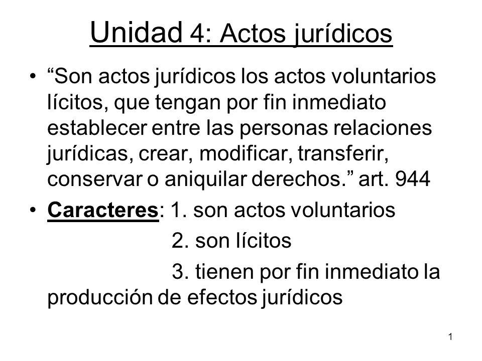 1 Unidad 4: Actos jurídicos Son actos jurídicos los actos voluntarios lícitos, que tengan por fin inmediato establecer entre las personas relaciones j
