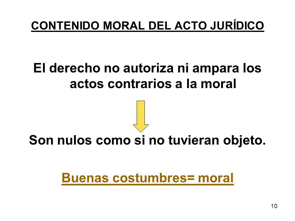 10 CONTENIDO MORAL DEL ACTO JURÍDICO El derecho no autoriza ni ampara los actos contrarios a la moral Son nulos como si no tuvieran objeto. Buenas cos