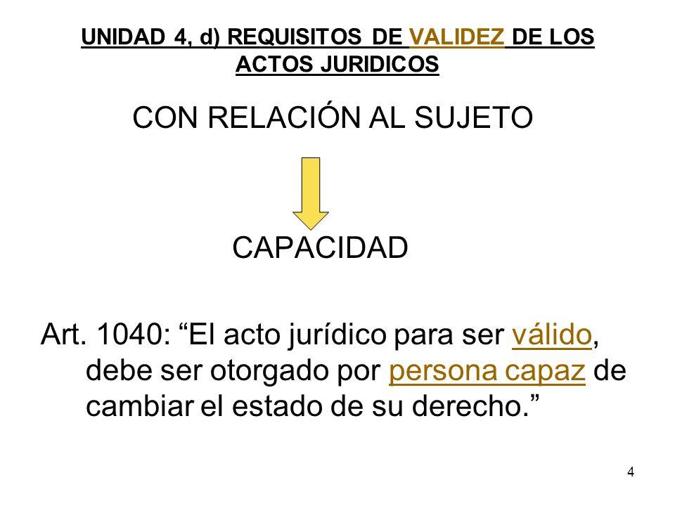 4 UNIDAD 4, d) REQUISITOS DE VALIDEZ DE LOS ACTOS JURIDICOS CON RELACIÓN AL SUJETO CAPACIDAD Art. 1040: El acto jurídico para ser válido, debe ser oto