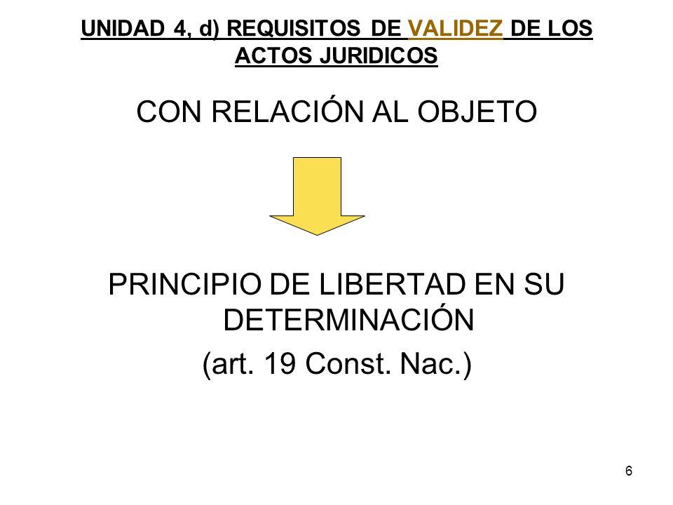 6 UNIDAD 4, d) REQUISITOS DE VALIDEZ DE LOS ACTOS JURIDICOS CON RELACIÓN AL OBJETO PRINCIPIO DE LIBERTAD EN SU DETERMINACIÓN (art. 19 Const. Nac.)