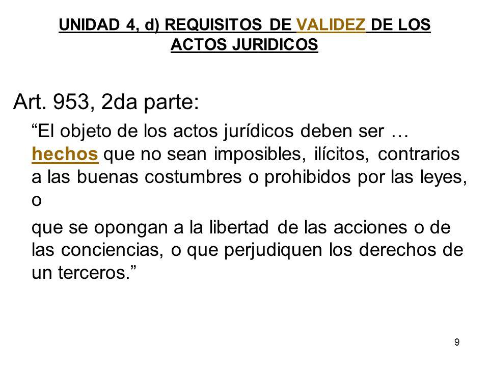 9 UNIDAD 4, d) REQUISITOS DE VALIDEZ DE LOS ACTOS JURIDICOS Art. 953, 2da parte: El objeto de los actos jurídicos deben ser … hechos que no sean impos