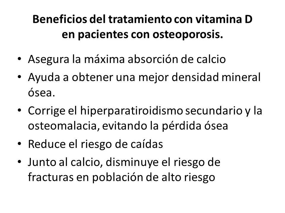Beneficios del tratamiento con vitamina D en pacientes con osteoporosis. Asegura la máxima absorción de calcio Ayuda a obtener una mejor densidad mine