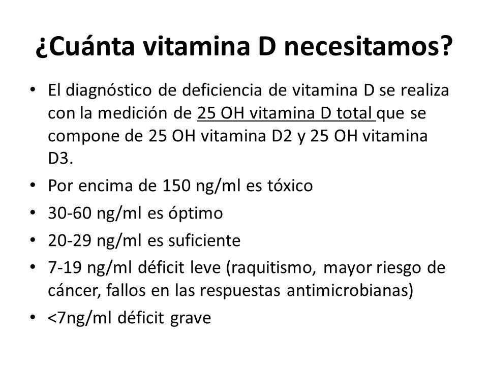 ¿Cuánta vitamina D necesitamos? El diagnóstico de deficiencia de vitamina D se realiza con la medición de 25 OH vitamina D total que se compone de 25