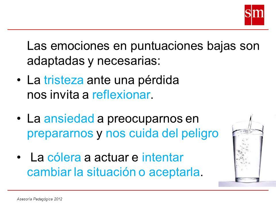 Asesoría Pedagógica 2012 Las emociones en puntuaciones bajas son adaptadas y necesarias: La tristeza ante una pérdida nos invita a reflexionar. La ans