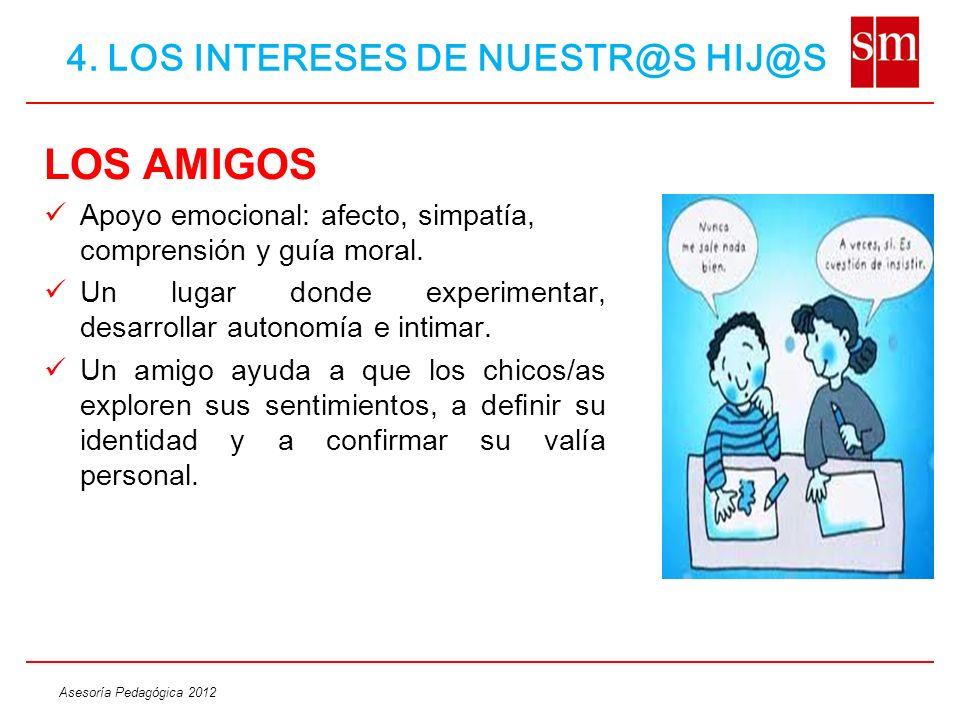 Asesoría Pedagógica 2012 LOS AMIGOS Apoyo emocional: afecto, simpatía, comprensión y guía moral. Un lugar donde experimentar, desarrollar autonomía e