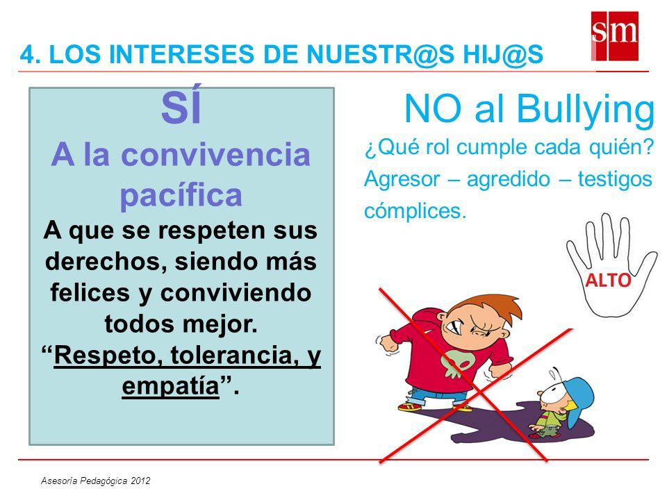 Asesoría Pedagógica 2012 NO al Bullying ¿Qué rol cumple cada quién? Agresor – agredido – testigos cómplices. SÍ A la convivencia pacífica A que se res