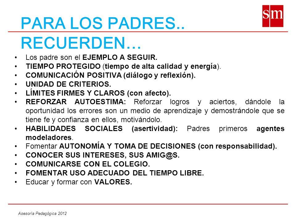 Asesoría Pedagógica 2012 PARA LOS PADRES.. RECUERDEN… Los padre son el EJEMPLO A SEGUIR. TIEMPO PROTEGIDO (tiempo de alta calidad y energía). COMUNICA