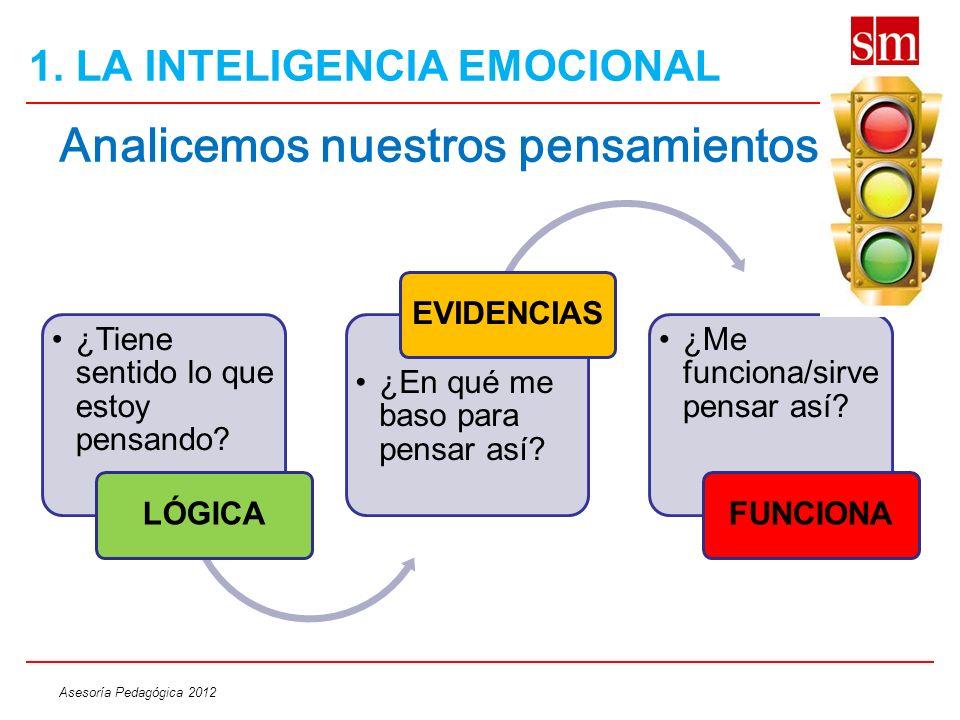 Asesoría Pedagógica 2012 Analicemos nuestros pensamientos: ¿Tiene sentido lo que estoy pensando? LÓGICA ¿En qué me baso para pensar así? EVIDENCIAS ¿M