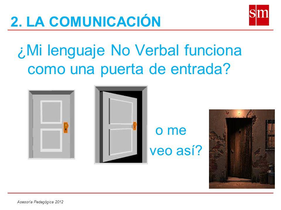 Asesoría Pedagógica 2012 ¿Mi lenguaje No Verbal funciona como una puerta de entrada? o me veo así? 2. LA COMUNICACIÓN