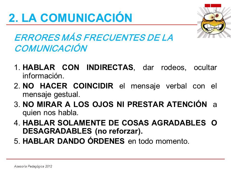 Asesoría Pedagógica 2012 ERRORES MÁS FRECUENTES DE LA COMUNICACIÓN 1.HABLAR CON INDIRECTAS, dar rodeos, ocultar información. 2.NO HACER COINCIDIR el m