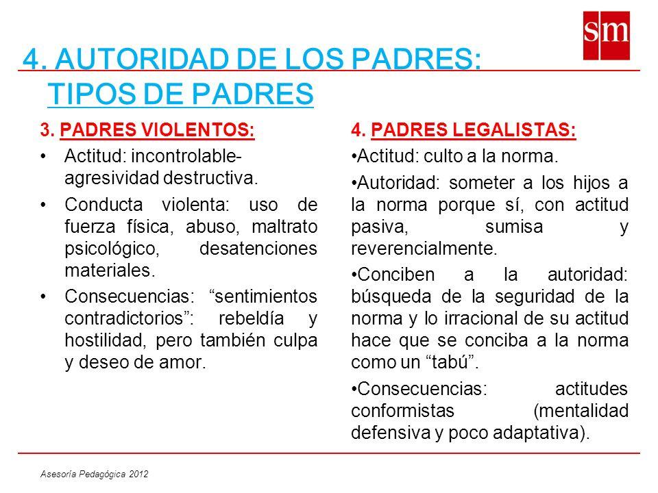 Asesoría Pedagógica 2012 4. AUTORIDAD DE LOS PADRES: TIPOS DE PADRES 3. PADRES VIOLENTOS: Actitud: incontrolable- agresividad destructiva. Conducta vi