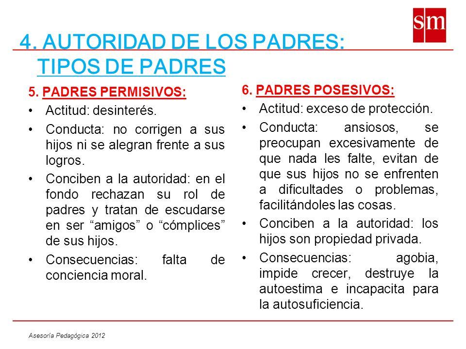 Asesoría Pedagógica 2012 4. AUTORIDAD DE LOS PADRES: TIPOS DE PADRES 5. PADRES PERMISIVOS: Actitud: desinterés. Conducta: no corrigen a sus hijos ni s