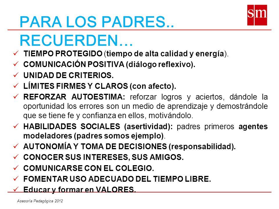 Asesoría Pedagógica 2012 PARA LOS PADRES.. RECUERDEN… TIEMPO PROTEGIDO (tiempo de alta calidad y energía). COMUNICACIÓN POSITIVA (diálogo reflexivo).