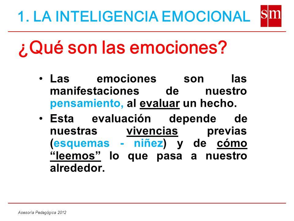 Asesoría Pedagógica 2012 ¿Qué son las emociones? Las emociones son las manifestaciones de nuestro pensamiento, al evaluar un hecho. Esta evaluación de