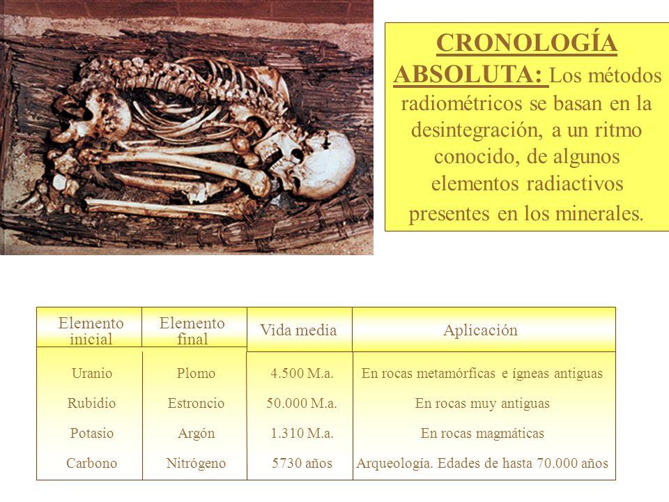 Elemento final Elemento inicial Vida mediaAplicación Arqueología.