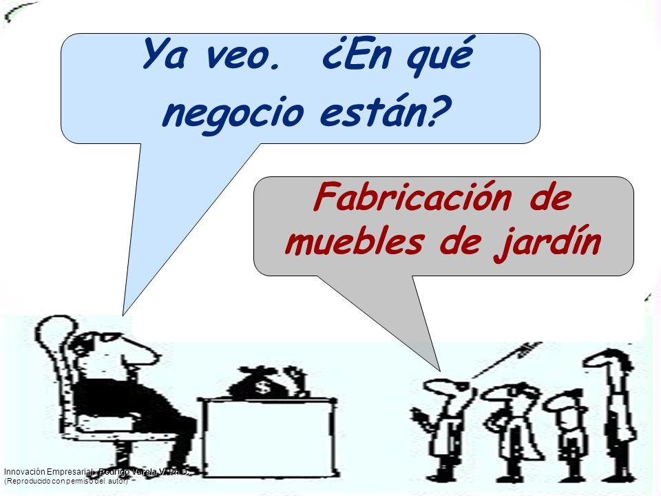 Ya veo. ¿En qué negocio están? Fabricación de muebles de jardín Innovación Empresarial - Rodrigo Varela V. Ph.D. (Reproducido con permiso del autor)