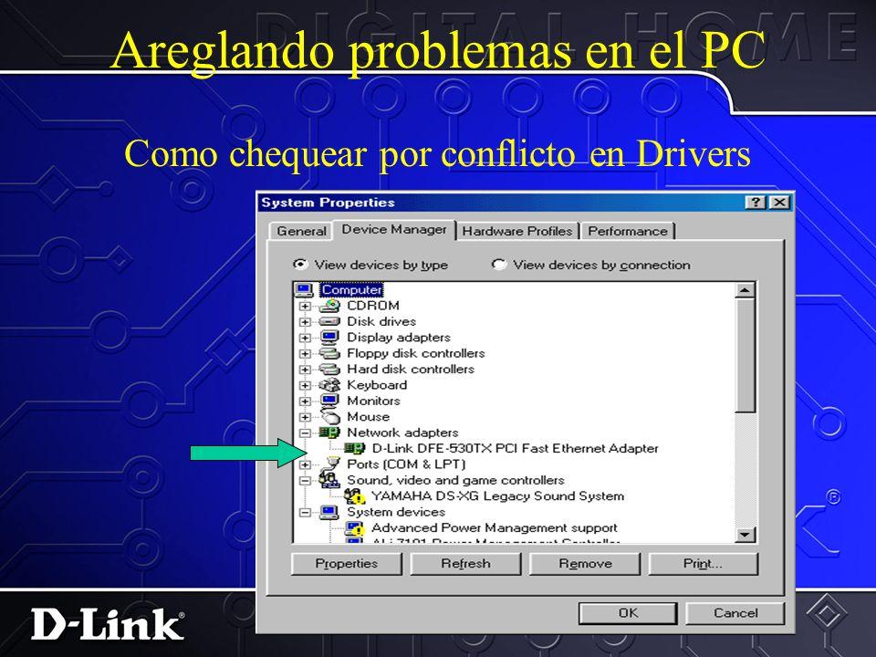 Problemas comunes en la instalacion Problemas con loas tarjetas NICs 1.Conflicto de Drivers 2.Conflictos IRQ Marcas de Exclamacion indican conflictos.