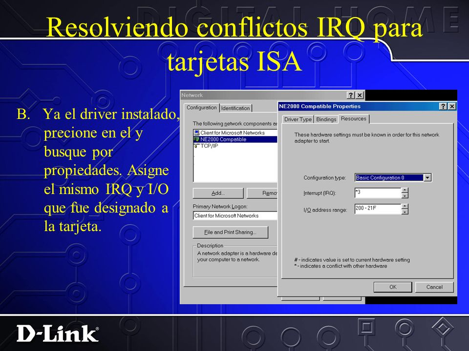 Resolviendo conflictos IRQ para tarjetas ISA H. Escape y guarde lo hecho. I. Re inicie en Windows 2. Instale el driver que NO es Plug & Play Añada el