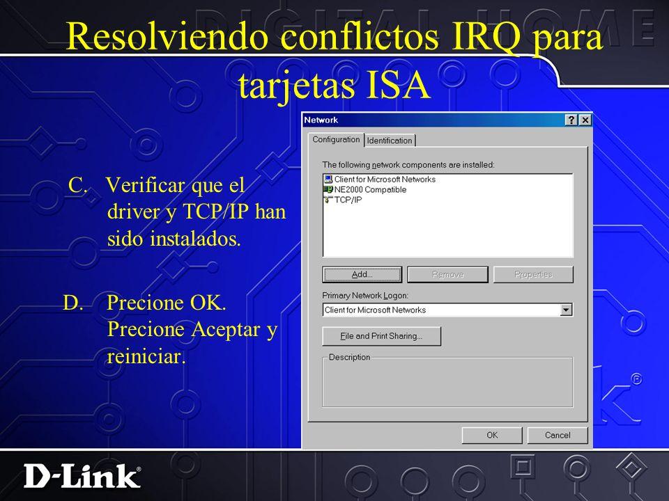 Resolviendo conflictos IRQ para tarjetas ISA B. Ya el driver instalado, precione en el y busque por propiedades. Asigne el mismo IRQ y I/O que fue des