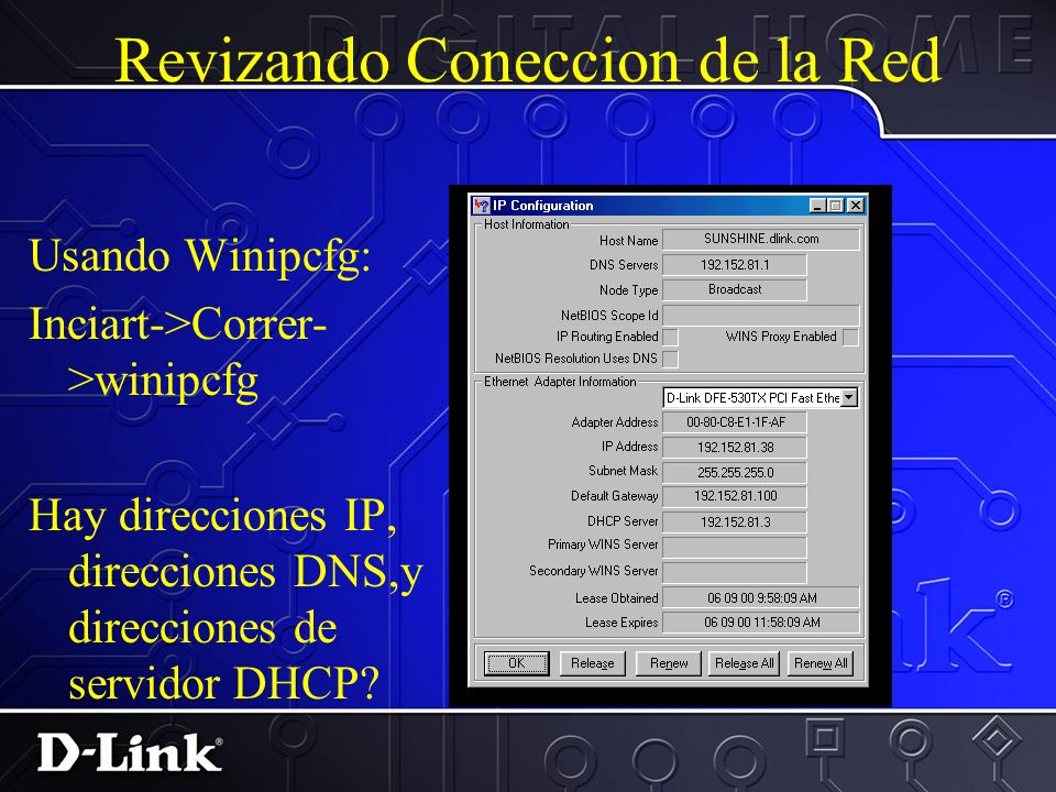 Revizando Coneccion de la Red Verificar las identificaciones