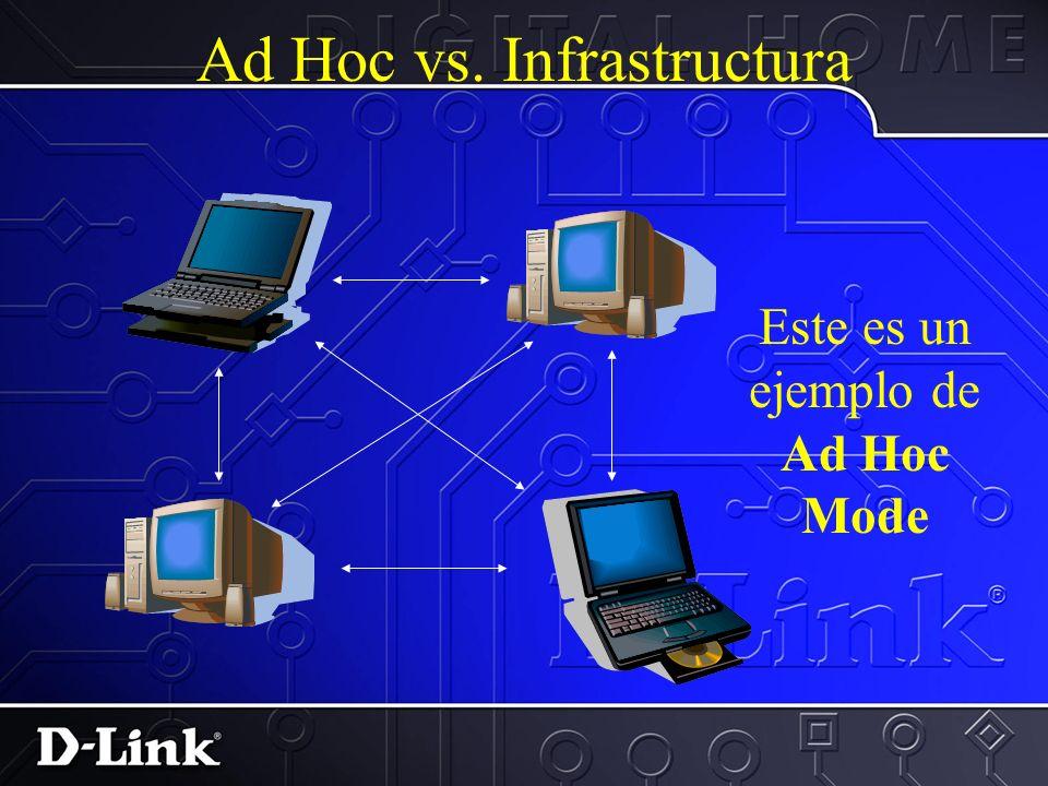 Ad Hoc vs. Infrastructura Este es un ejemplo de Modo de Infrastuctura