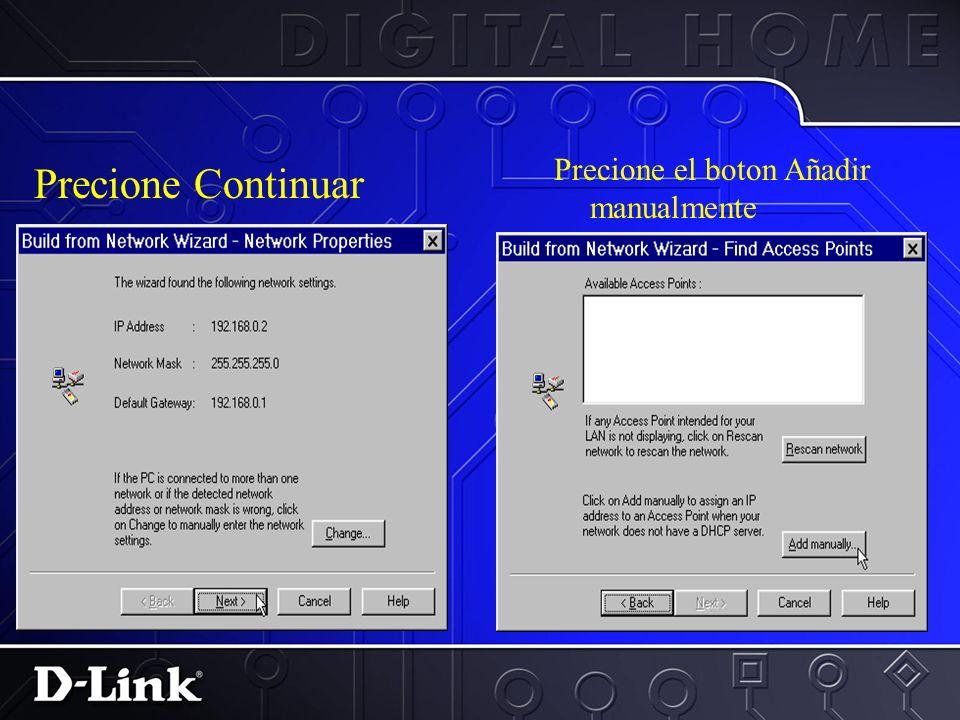 Software de administracion del AP… 1.Precione en Iniciar> Programas>D-Link Wireless LAN> D-Link AP Manager 2.Precione en crear icono de red