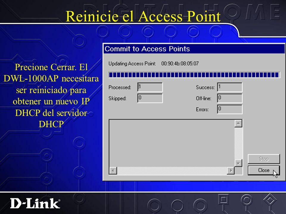 Seleccionar Seguridad WLAN Selecioneel boton No Security radio. Seleccione la linea comun a Privada. Precione Continuar. Precione terminar