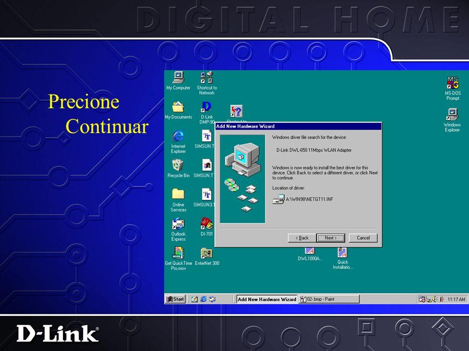 Seleccione el disco Floppy. Seleccione el menu de especificar direccion. Inserte el disco Floppy del D- Link Air DWL-650 en el drive A:\ y escriba a:\