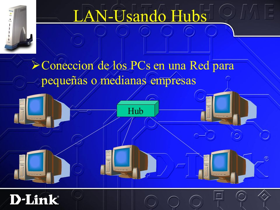 Mas sobre redes PYMES El siguiente paso sera la coneccion de una red de mas de 3 PC. Cada uno de los componentes sera conectado directamente a un HUB