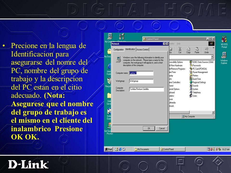 Selecione el comando de compartir archivo e impresion localizado debajo del logon.
