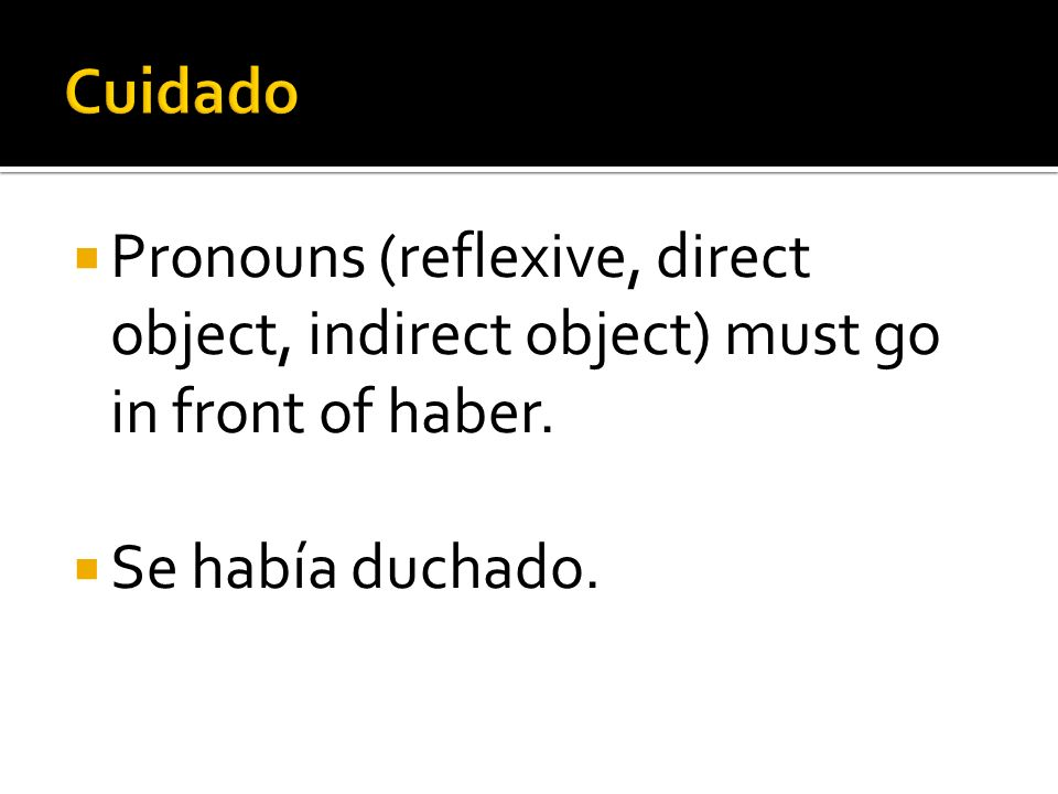 Pronouns (reflexive, direct object, indirect object) must go in front of haber. Se había duchado.