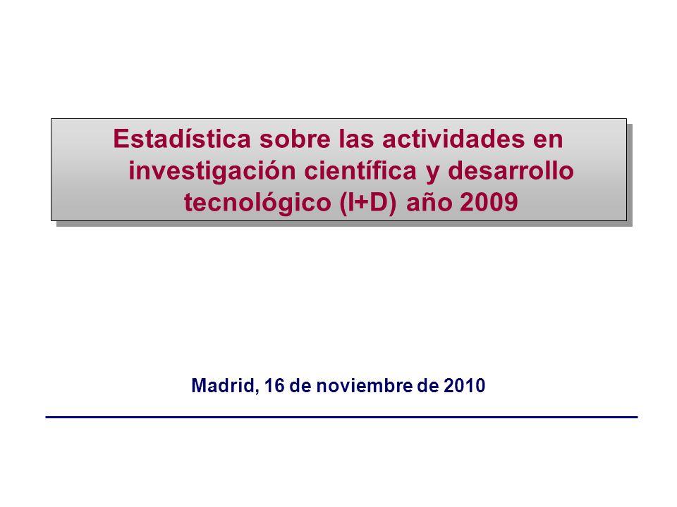 Madrid, 16 de noviembre de 2010 Estadística sobre las actividades en investigación científica y desarrollo tecnológico (I+D) año 2009
