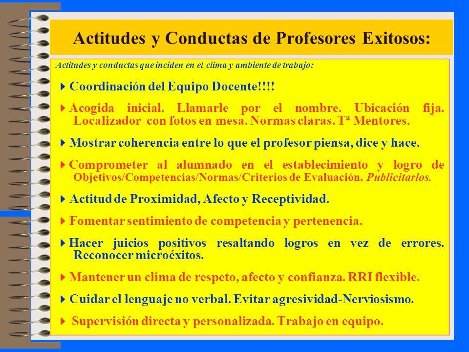 Actitudes y Conductas de Profesores Exitosos: Actitudes y conductas que inciden en el clima y ambiente de trabajo: Coordinación del Equipo Docente!!!!