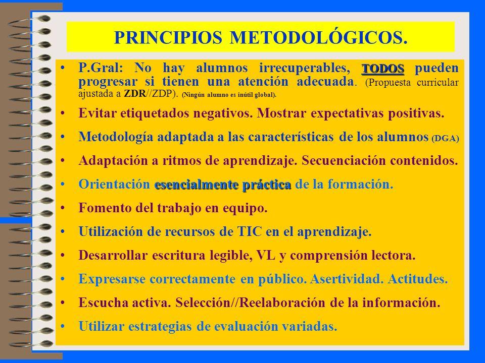 PRINCIPIOS METODOLÓGICOS. TODOSP.Gral: No hay alumnos irrecuperables, TODOS pueden progresar si tienen una atención adecuada. (Propuesta curricular aj