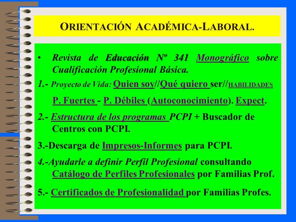 O RIENTACIÓN A CADÉMICA- L ABORAL. Educación Nº 341Revista de Educación Nº 341 Monográfico sobre Cualificación Profesional Básica.Monográfico 1.- Proy