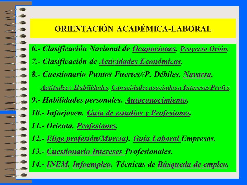 6.- Clasificación Nacional de Ocupaciones. Proyecto Orión.Ocupaciones Proyecto Orión 7.- Clasificación de Actividades Económicas.Actividades Económica