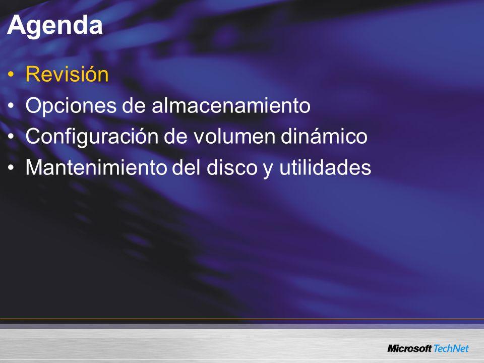 Revisión Opciones de almacenamiento ¿Qué configuración no está disponible cuando convierte un disco básico a un disco dinámico.