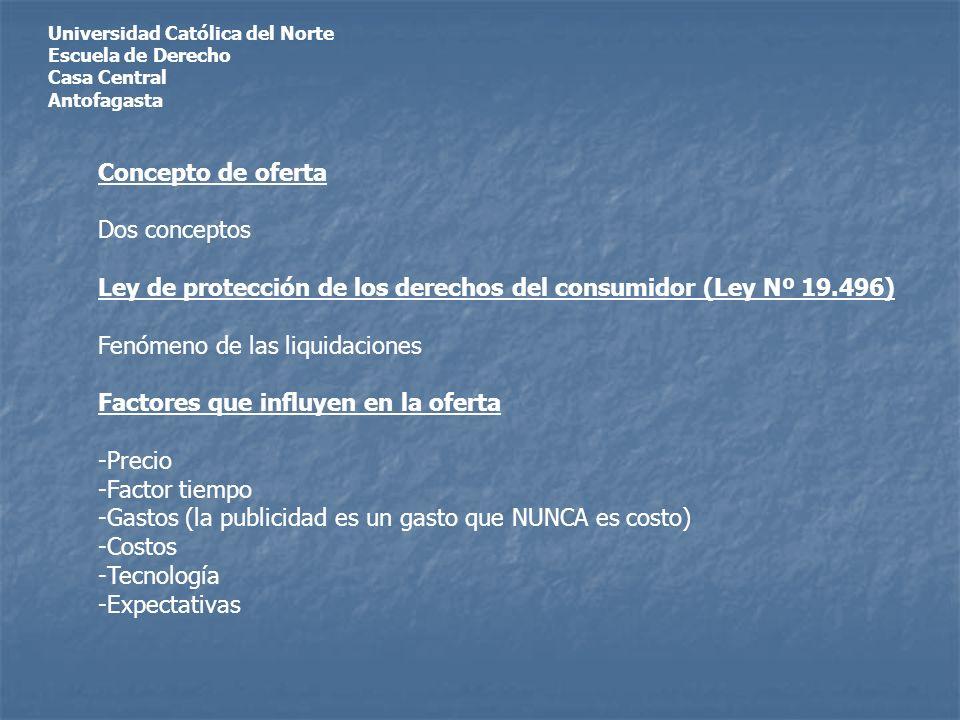 Universidad Católica del Norte Escuela de Derecho Casa Central Antofagasta Concepto de oferta Dos conceptos Ley de protección de los derechos del consumidor (Ley Nº 19.496) Fenómeno de las liquidaciones Factores que influyen en la oferta -Precio -Factor tiempo -Gastos (la publicidad es un gasto que NUNCA es costo) -Costos -Tecnología -Expectativas