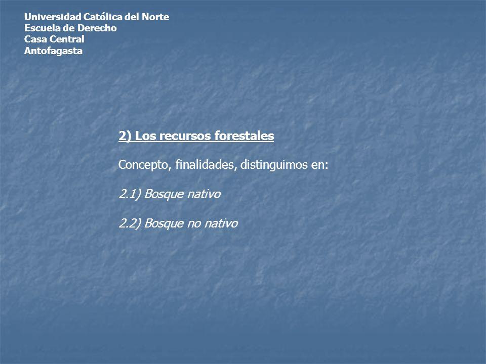 Universidad Católica del Norte Escuela de Derecho Casa Central Antofagasta 2) Los recursos forestales Concepto, finalidades, distinguimos en: 2.1) Bosque nativo 2.2) Bosque no nativo
