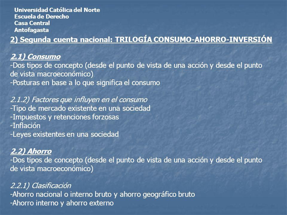 Universidad Católica del Norte Escuela de Derecho Casa Central Antofagasta 2) Segunda cuenta nacional: TRILOGÍA CONSUMO-AHORRO-INVERSIÓN 2.1) Consumo