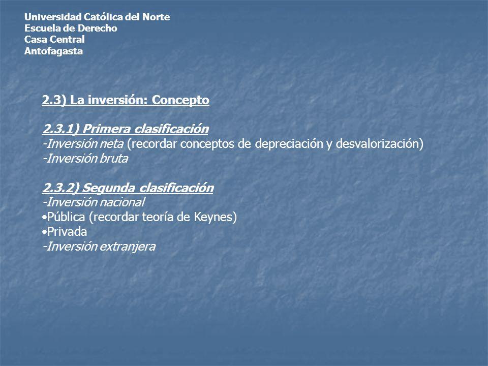 Universidad Católica del Norte Escuela de Derecho Casa Central Antofagasta 2.3) La inversión: Concepto 2.3.1) Primera clasificación -Inversión neta (recordar conceptos de depreciación y desvalorización) -Inversión bruta 2.3.2) Segunda clasificación -Inversión nacional Pública (recordar teoría de Keynes) Privada -Inversión extranjera