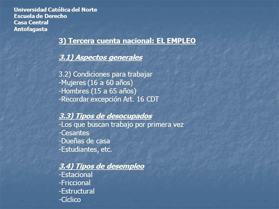 Universidad Católica del Norte Escuela de Derecho Casa Central Antofagasta 3) Tercera cuenta nacional: EL EMPLEO 3.1) Aspectos generales 3.2) Condiciones para trabajar -Mujeres (16 a 60 años) -Hombres (15 a 65 años) -Recordar excepción Art.