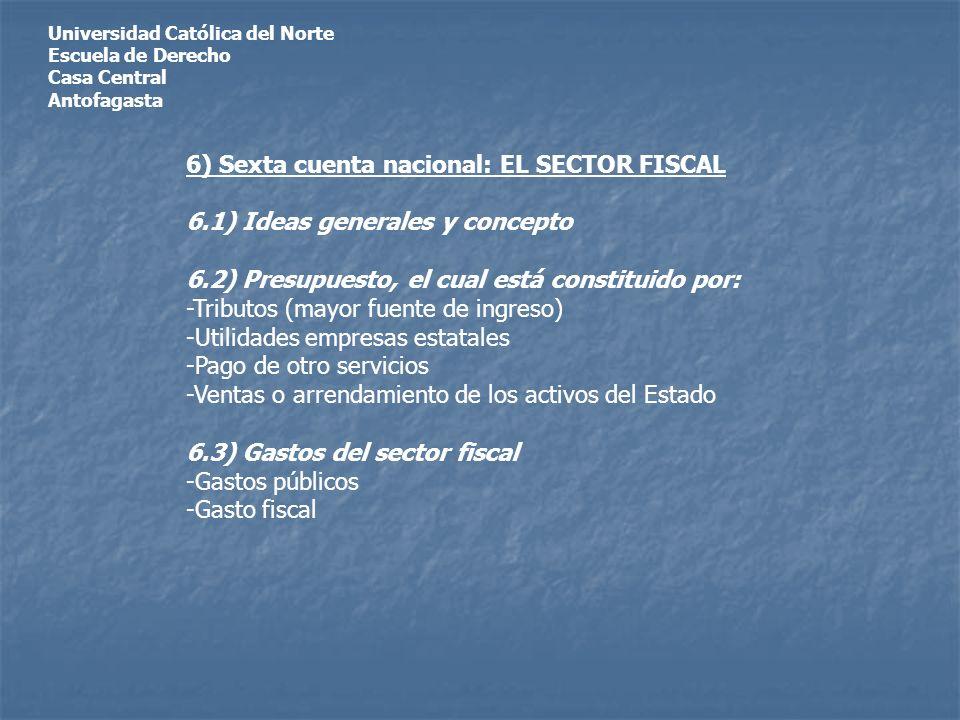 Universidad Católica del Norte Escuela de Derecho Casa Central Antofagasta 6) Sexta cuenta nacional: EL SECTOR FISCAL 6.1) Ideas generales y concepto